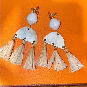 AKOLA raffia tassel earrings - like new